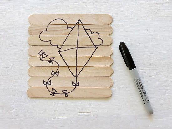 Canetas para marcação de desenho em artesanato infantil