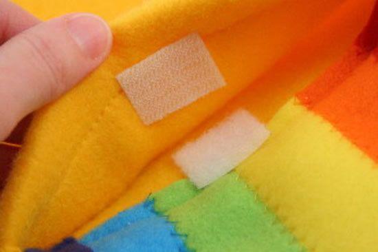 Velcro para o cachecol arco-íris de feltro