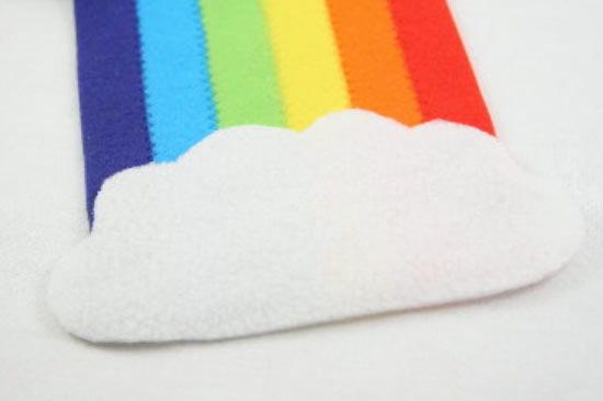Cachecol colorido em forma de arco-íris passo a passo