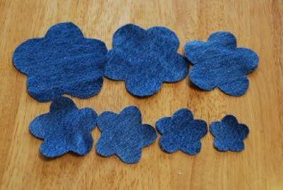 Flor de tecido jeans para fazer artesanato