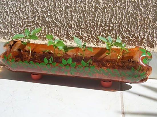 Garrafa PET decorada para ser vaso de planta