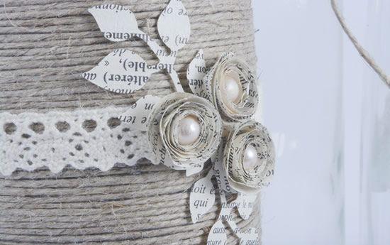 Flor de papel para decoração da garrafa reciclada