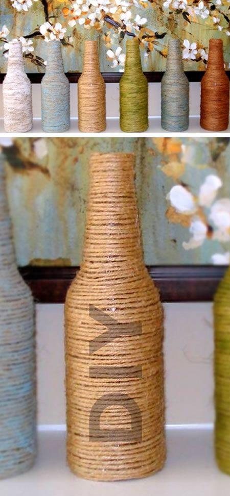 Reciclando garrafas com barbante passo a passo