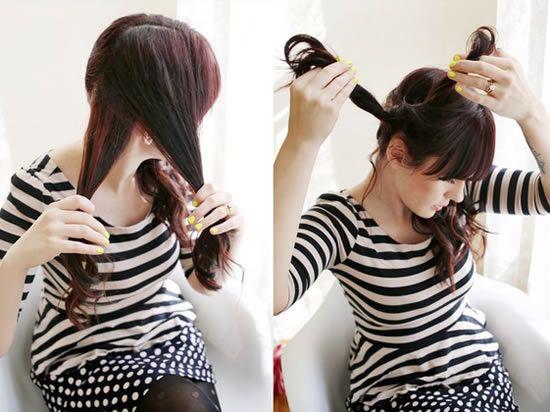Fazendo penteado no cabelo