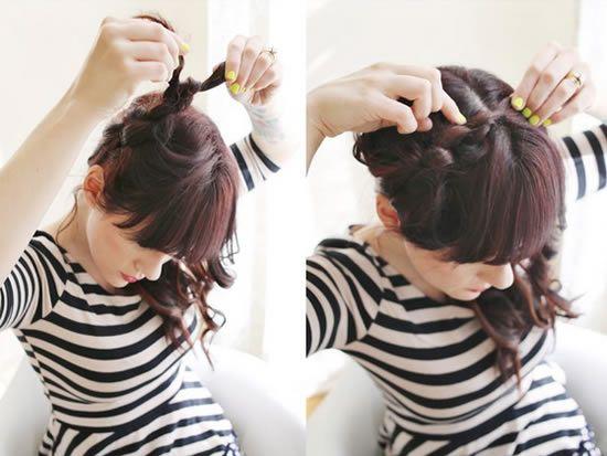 Penteado com nós no cabelo