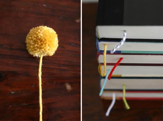 Pompom artesanal para ser marcador de livro