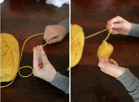 Como fazer pompom de lã colorido