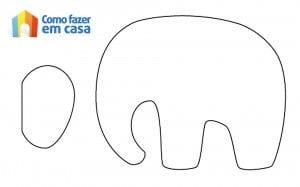 Moldes de elefante para artesanato com feltro