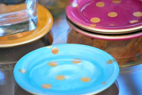 Pratinhos de vidro decorados para festa