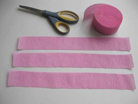 Tiras de papel crepom