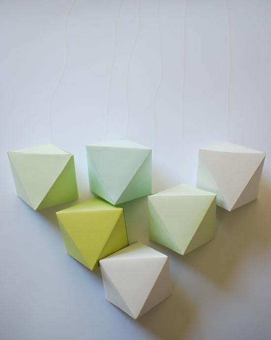 Decoração para a sala com cubos de origami
