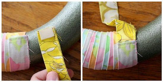 Confeccionando uma guirlanda revestida de tecido