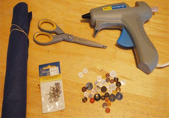 Materiais para brincos de botão