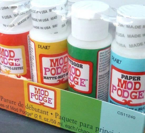 Cola Modge Podge rótulo colorido