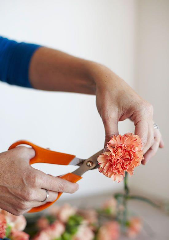 Cortando as flores para fazer parte da decoração