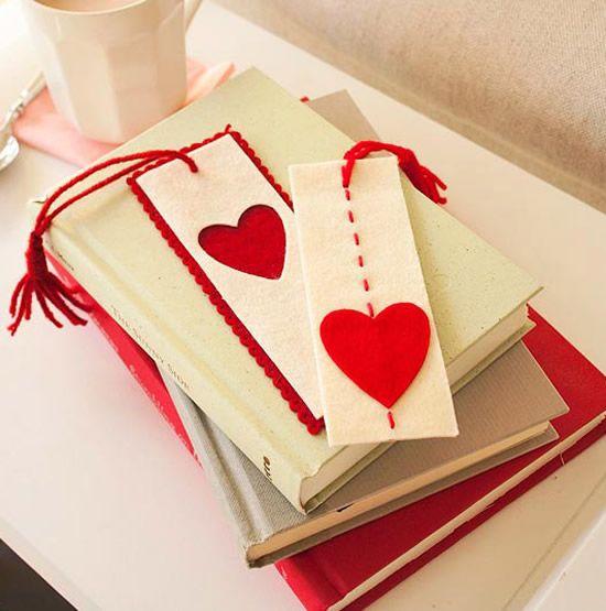 Marcador de papel de feltro para o Dia dos Namorados