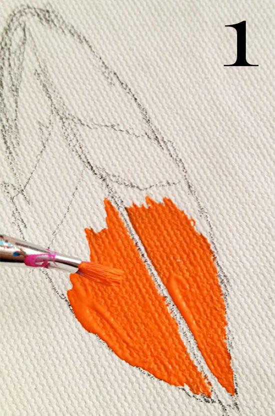 Primeiro passo da técnica para pintar tecido