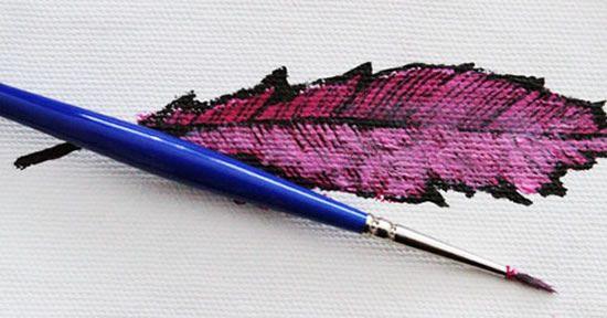 Folha de tecido pintada passo a passo