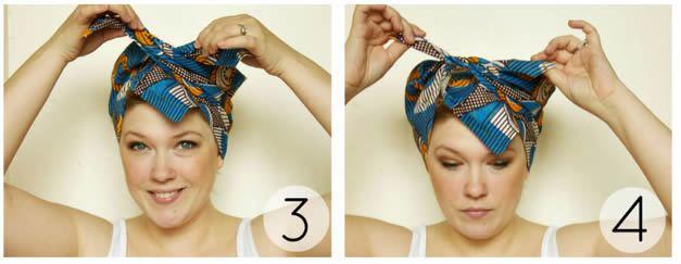 Colocando o lenço de cabelo na cabeça