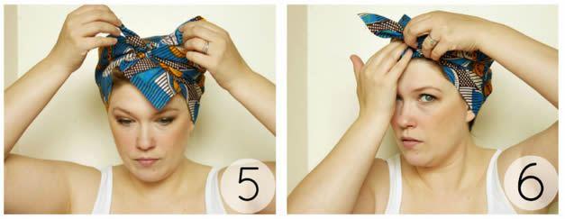Colocando um lenço para amarrar o cabelo passo a passo