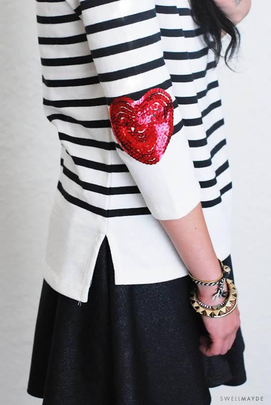 Como customizar uma camisa com coração de lantejoulas