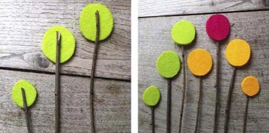 Criando as flores de feltro para decoração