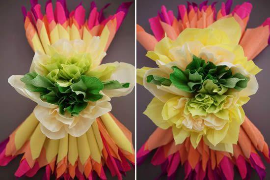 Como fazer flor de papel seda grande passo a passo -> Decoração De Papel Crepom Como Fazer