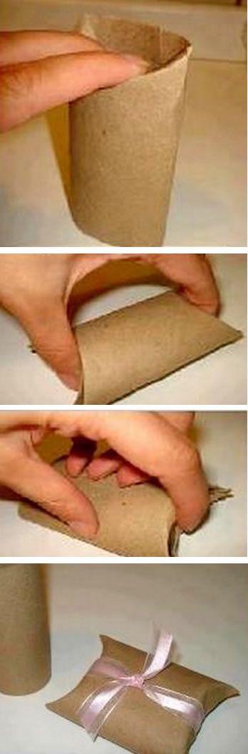 Reciclando rolinhos para fazer embalagens de festinha
