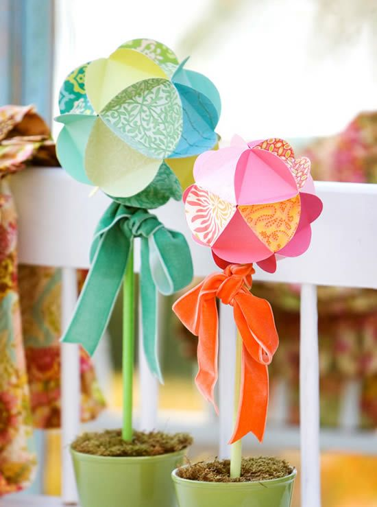 Bolas de papel para decoração