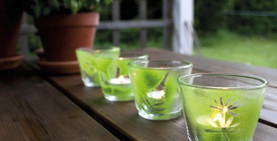 Potinhos de vidro decoração