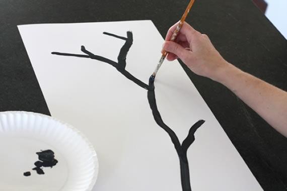 Desenhando o caule com galhinhos