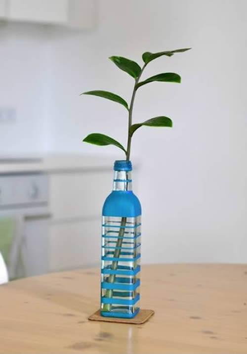 Decoração com vasinhos reciclados para mesa