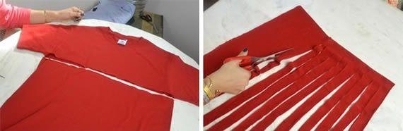 Criando um artesanato com camisas velhas