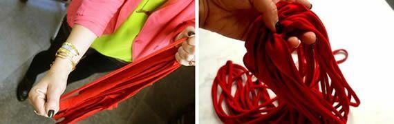 Esticando o tecido da camisa para fazer o colar artesanal
