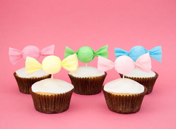 Enfeites para cupcake - Decoração para festa - Passo a passo