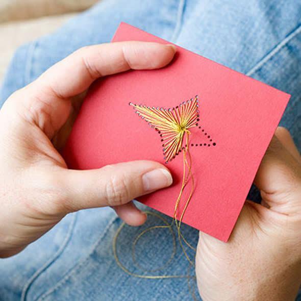 Cartão de Natal com costura super fácil de fazer