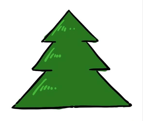 Árvore de Natal para desenhar passo a passo
