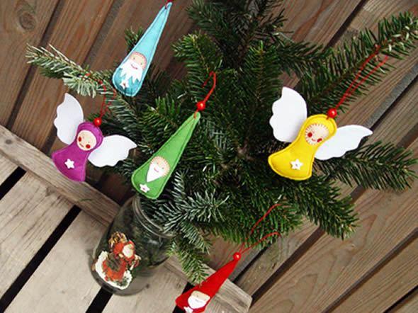 Papei Noel em feltro na Árvore de Natal