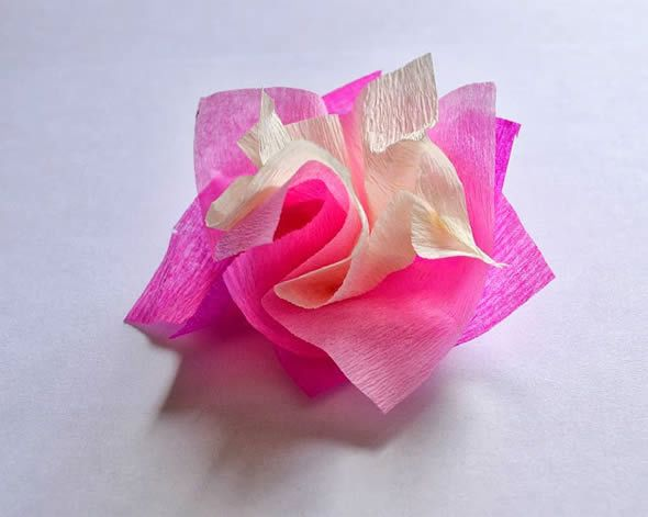 Lindo passo a passo de flores de papel crepom