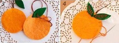 Passo a passo de laranja de feltro
