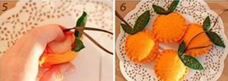 Laranjinha de feltro para decoração
