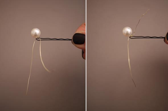 Artesanato com berilo para acessório de cabelo