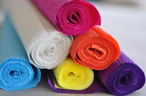 Papel crepom colorido para artesanato