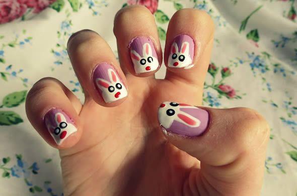 Como pintar as unhas de coelhinho de Páscoa