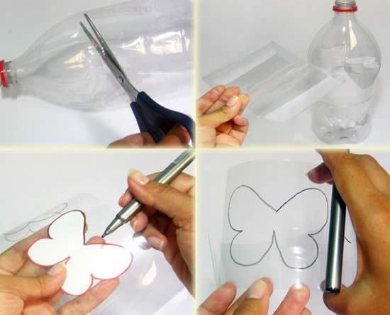 Criando a borboleta com reciclagem de garrafa PET