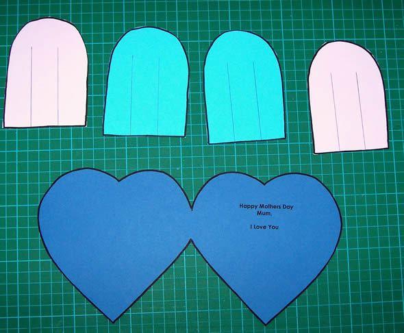 Passo a passo para criar cartão infantil de coração com moldes