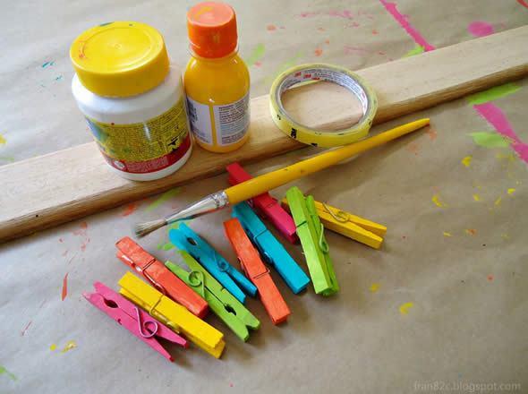Artesanato colorido com madeira passo a passo