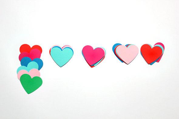Corações coloridos para fazer decoração criativa