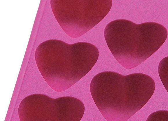 forma de silicone em formato de coração para fazer cubos de gelo com rosas