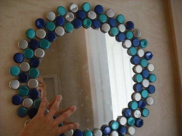 Decoração com tampinhas de garrafa recicladas